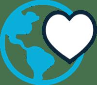 Globe and heart icon