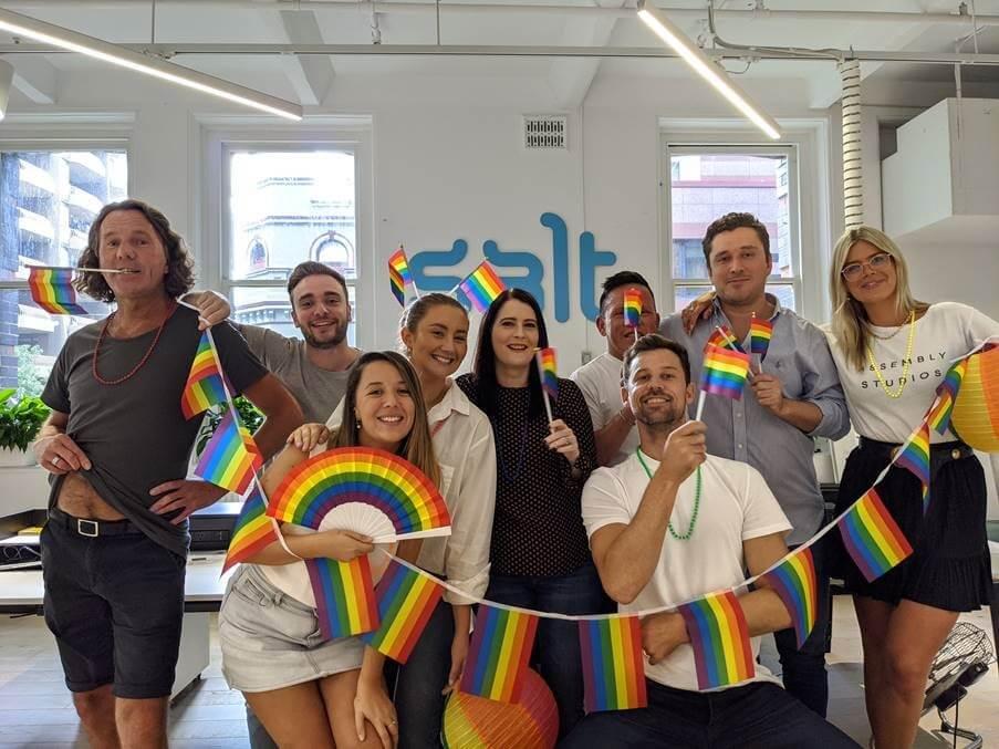 Employees celebrating Pride